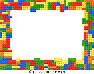 imagen, ladrillos del juguete, marco, aleatorio, -, colores