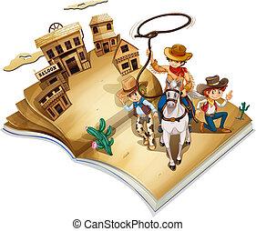 imagen, libro, tres, vaqueros