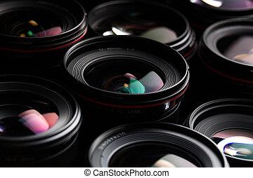 imagen, moderno, cámara, llave baja, reflexiones, lentes