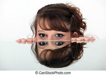 imagen, mujer, espejo
