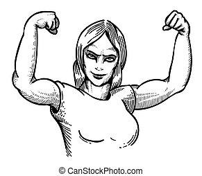 imagen, mujer, gimnasio, caricatura