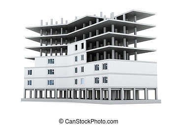 imagen, nuevo, edificios, en, aislamiento, en, un, blanco, fondo., 3d, rende