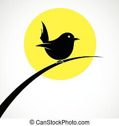 imagen, pasto o césped, perched, aves, vector