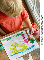 imagen, pintura, niño joven