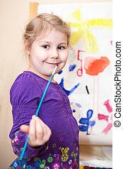 imagen, pinturas, cepillo, niña, pintura, preescolar, feliz