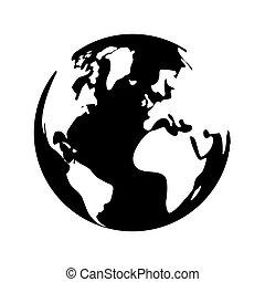 imagen, planeta, negro, tierra, blanco, icono
