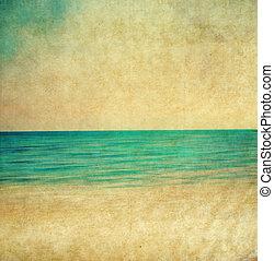 imagen, playa., retro, arenoso