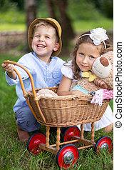 imagen, presentación, niños, juego, en, el, jardín
