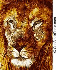 imagen, primer plano, ilustración, cara, grande, león, vector