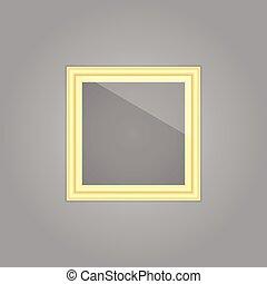 imagen, reflexión, oro, creado, marco, espejo