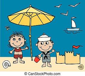 imagen, resto, alegre, vector, playa, niños