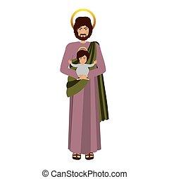 imagen, santo, joseph, con, bebé jesús