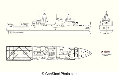 imagen, ship., model., boat., vista., militar, aislado, ...