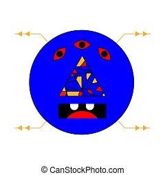 imagen, sketch., colorido, garabato, resumen, demonio, cyber, fondo., vector, evil., blanco, imagen, illustration.
