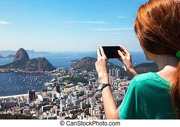 imagen, smartphone, turista, río, niña, paisaje, toma