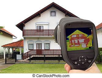 imagen térmica, de, el, casa
