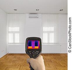imagen térmica, de, habitación