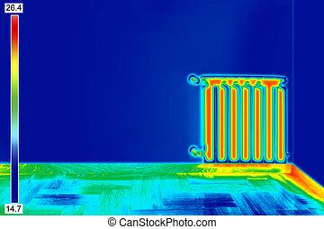 imagen térmica, de, radiador