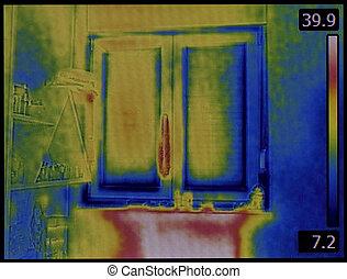 imagen térmica, de, ventana