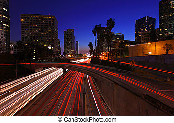 imagen, timelapse, angeles, los, ocaso, autopistas