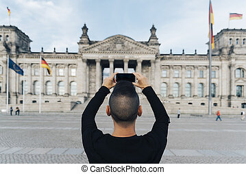 imagen, toma, berlín, reichstag, hombre