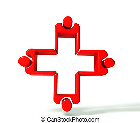 imagen, trabajo en equipo, 3, médico, d
