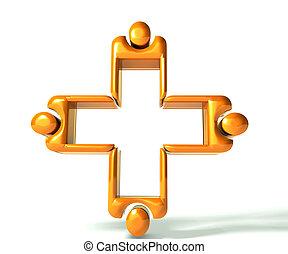 imagen, trabajo en equipo, oro, 3, médico, d