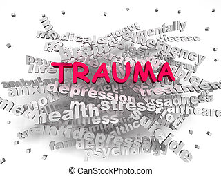 imagen, trauma, palabra, nube, concepto, 3d
