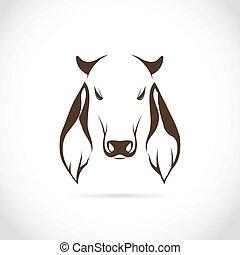 imagen, vector, cabeza, vaca