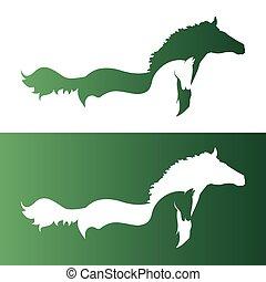 imagen, vector, dos, horse.