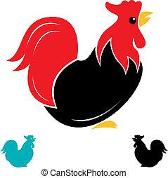 imagen, vector, gallo