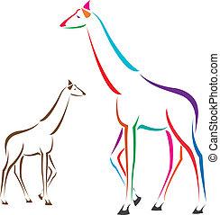 imagen, vector, jirafa