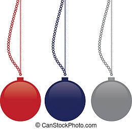 imagen, vector, -, navidad, pelotas