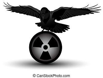 imagen, vector, radiación, cuervo