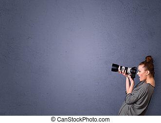 imagens, fotógrafo, tiroteio, copyspace, área