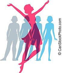 imagens, ser, mulher, silueta, ajustar