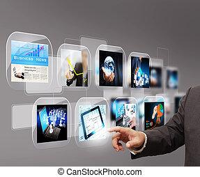 imagens, streaming, mão, alcançar