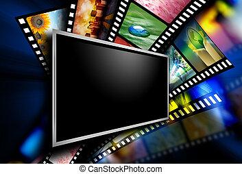 imagens, tela filme, película