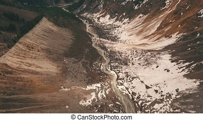 imagery of the glacier from the drone,Aerial view