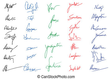 illustration of set of imagery signature in different color ink