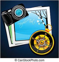 images, appareil photo, compas