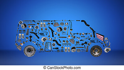 Images bus assembled from new spare parts. Cargo shop