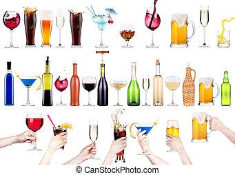 images, différent, alcool, isolé
