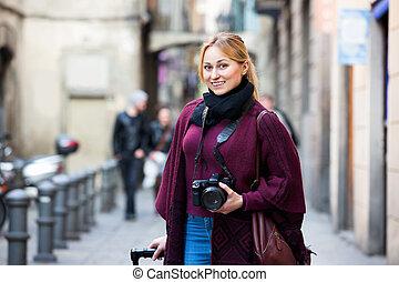 images, femme regarde, dehors, prendre, jeune