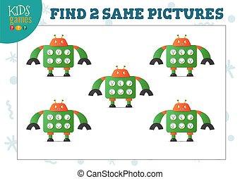 images, illustration., vecteur, deux, trouver, jeu, gosses, ...