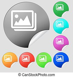 images, jpeg, photograph icon sign. Set of eight multi colored round buttons, stickers. Vector