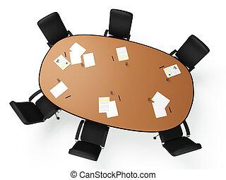 images:, krzesła, okrągły, wielki, tło, stół, biały okrążają...