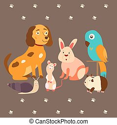 Images of domestic animals cat, parrot, dog, snail, rabbit, guinea. Can be used for pet shops, clinics, food advertising.