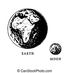 Images of Earth planet and Moon satellite in size comparison on white background. Hand drawn vector illustration