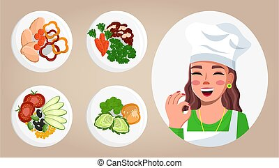 Images of food, dishes, cook woman. Cooking online, cooking ...